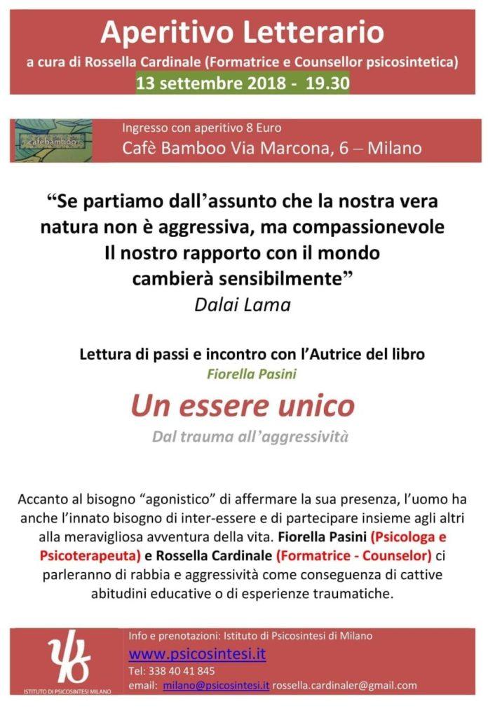 """Locandina dell'evento """"aperitivo letterario"""" del 13.09.18 a Milano"""