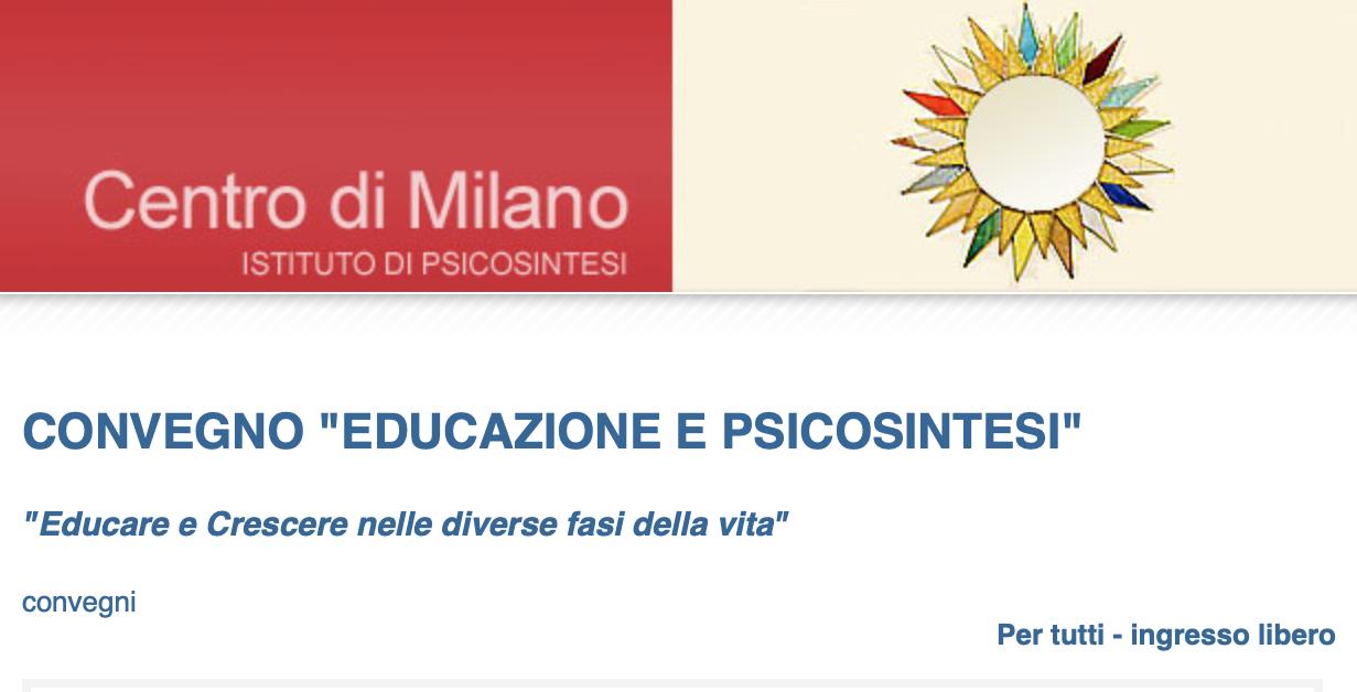 Convegno Educazione e Psicosintesi che si è tenuto a Milano il 6 Ottobre 2018